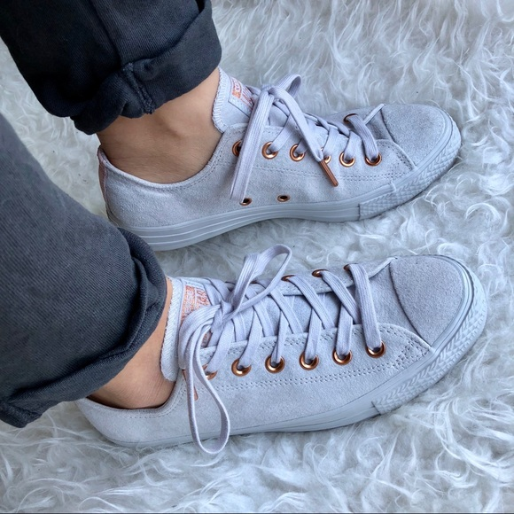 6a341e05768c Converse Gray Suede and Rose Gold Sneakers